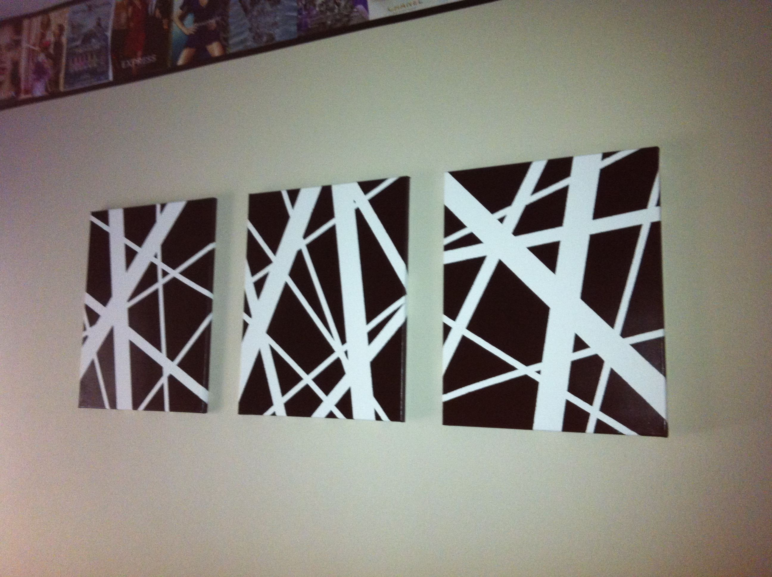 Easy diy abstract art 3 different sized tape over white for Black canvas painting ideas