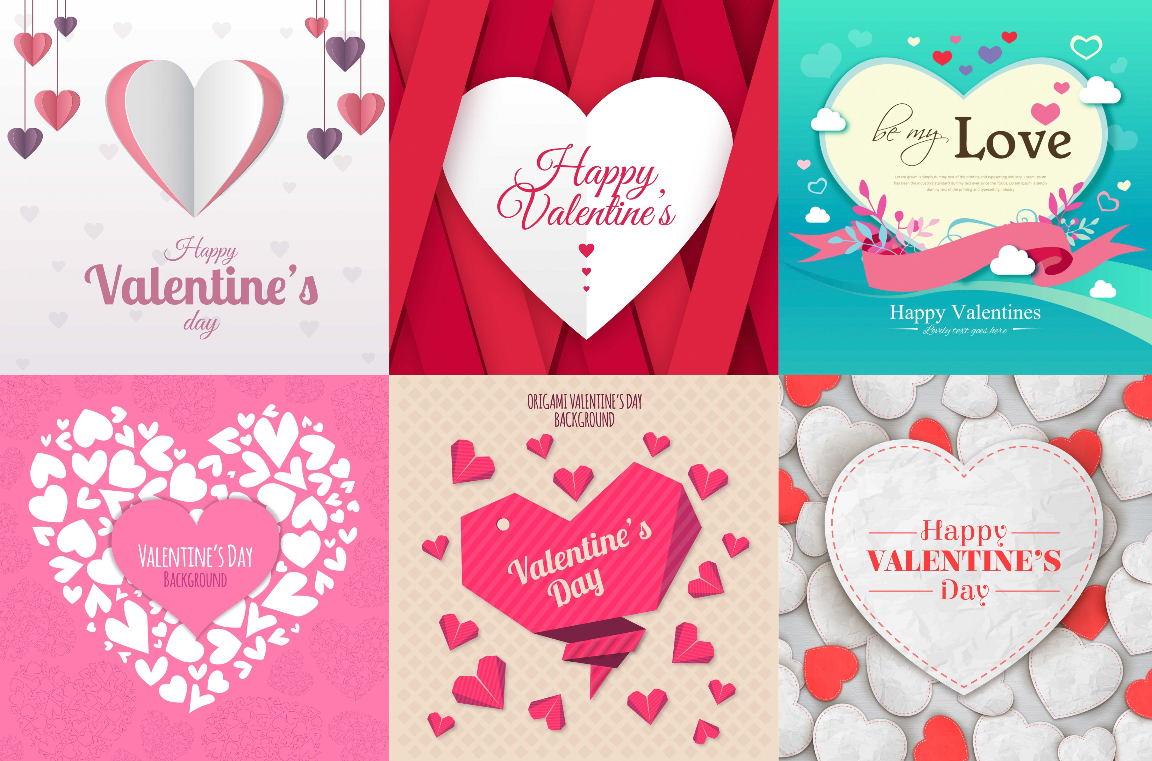 Set of 6 vectors Valentines cards designs with big hearts in