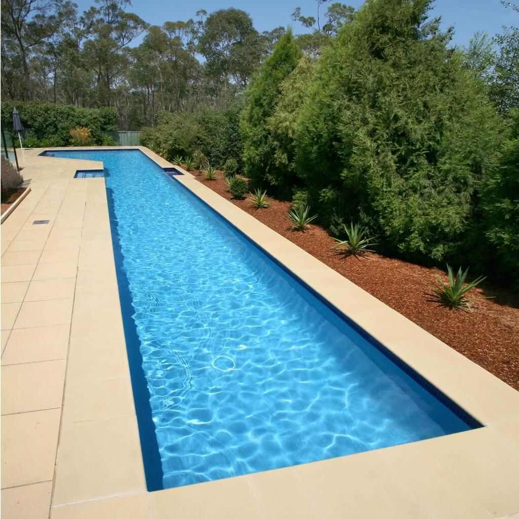 pool design, sample of lap pool design with block paving and green