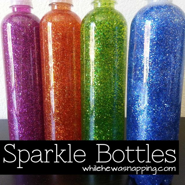 Sparkle Bottles.  #kids #activities #calmdown #timeout #whilehewasnapping