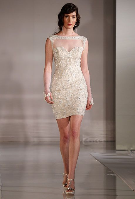 Broadway Short Beaded Sheath Wedding Dress With An Illusion Bateau Neckline And Cap Sleeves Ines Di Santo