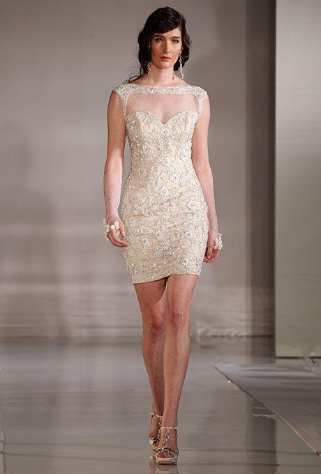 Broadway Short Beaded Sheath Wedding Dress With