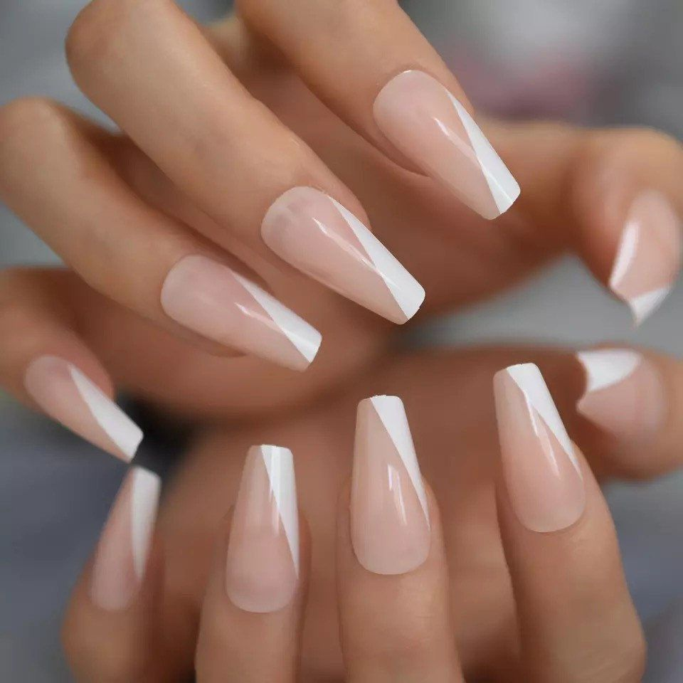 French Angled Tapered Medium Coffin Press On Nails Fake False 24 Pc Nail Set Kit In 2020 Beige Nails White Tip Acrylic Nails French Tip Acrylic Nails