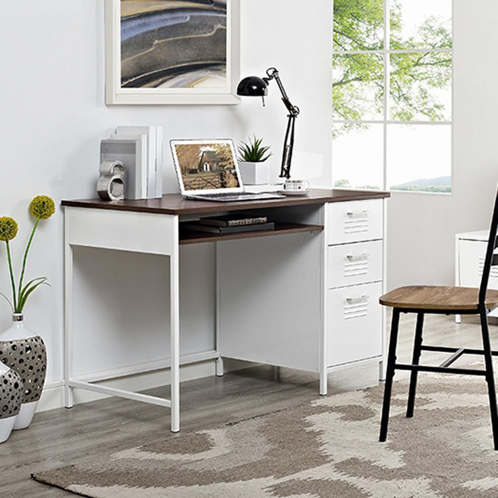 Locker style in white metal desk with wood top metal desks