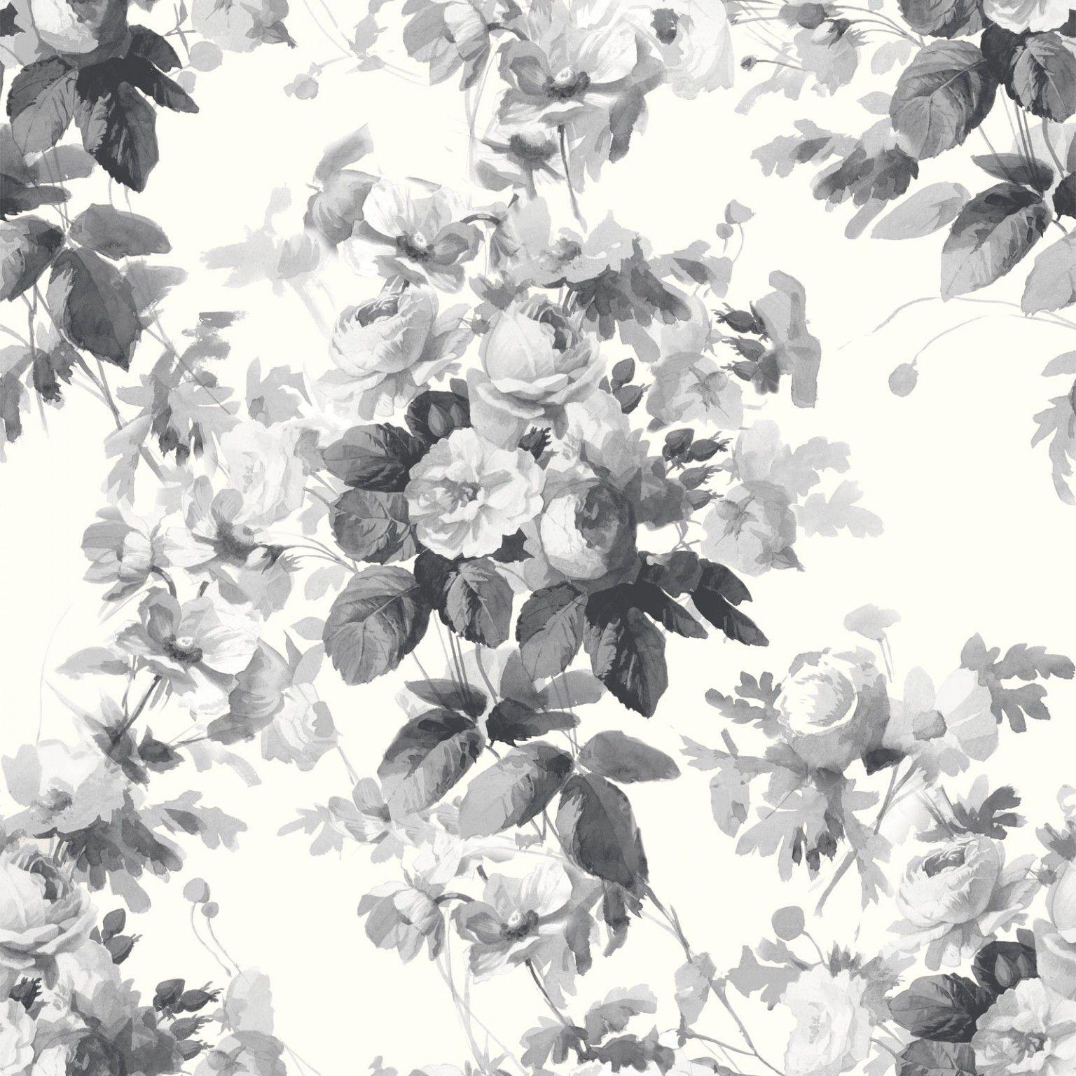 LONDON ROSE Wallpaper Smoke Grey Offspring Wallpaper Grey