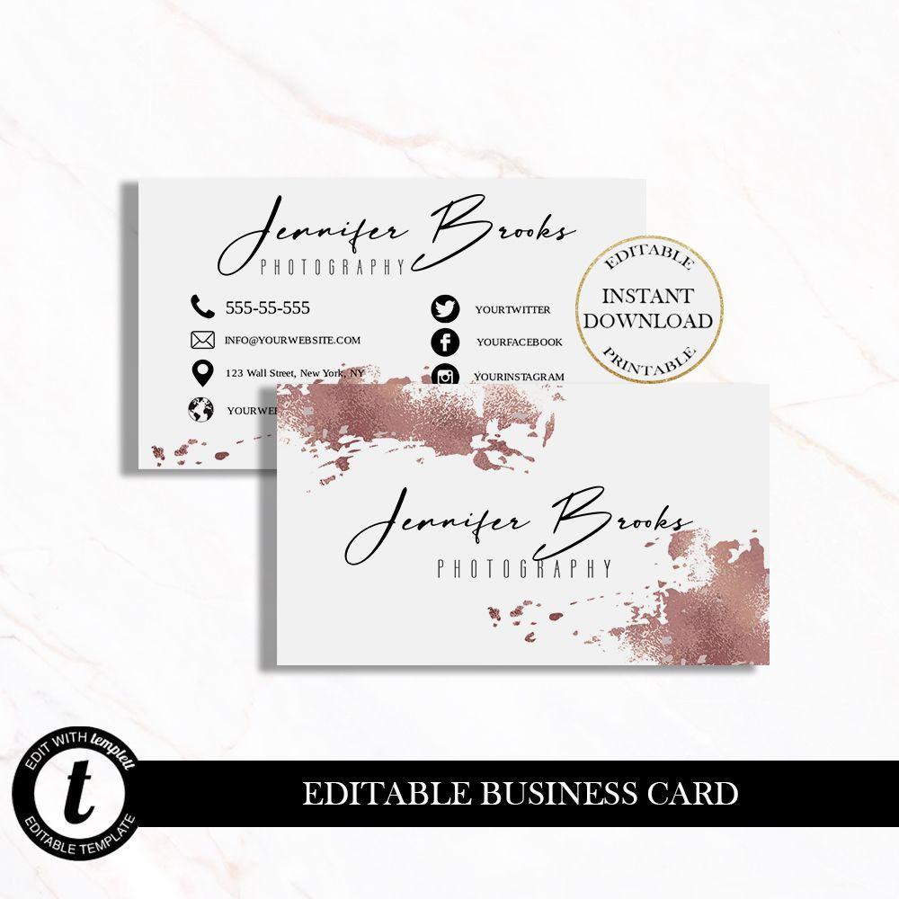 Diy Business Card Design Business Card Template Ediatble Business Cards Feminine Business Card In 2020