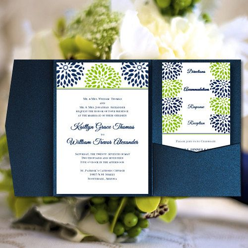 Pocket Fold Wedding Invitations Floral Petals Navy Blue Lime Green Printable Word Templates Make Your Own All Colors Av DIY You Print