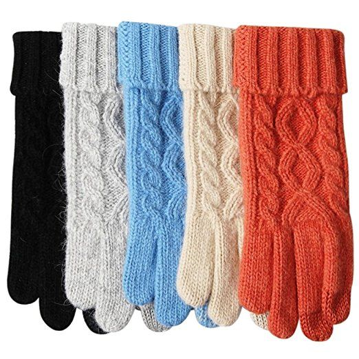 Womens Winter Warm Cozy Wool Touchscreen Knit Thick Fleece Lined Gloves Mittens