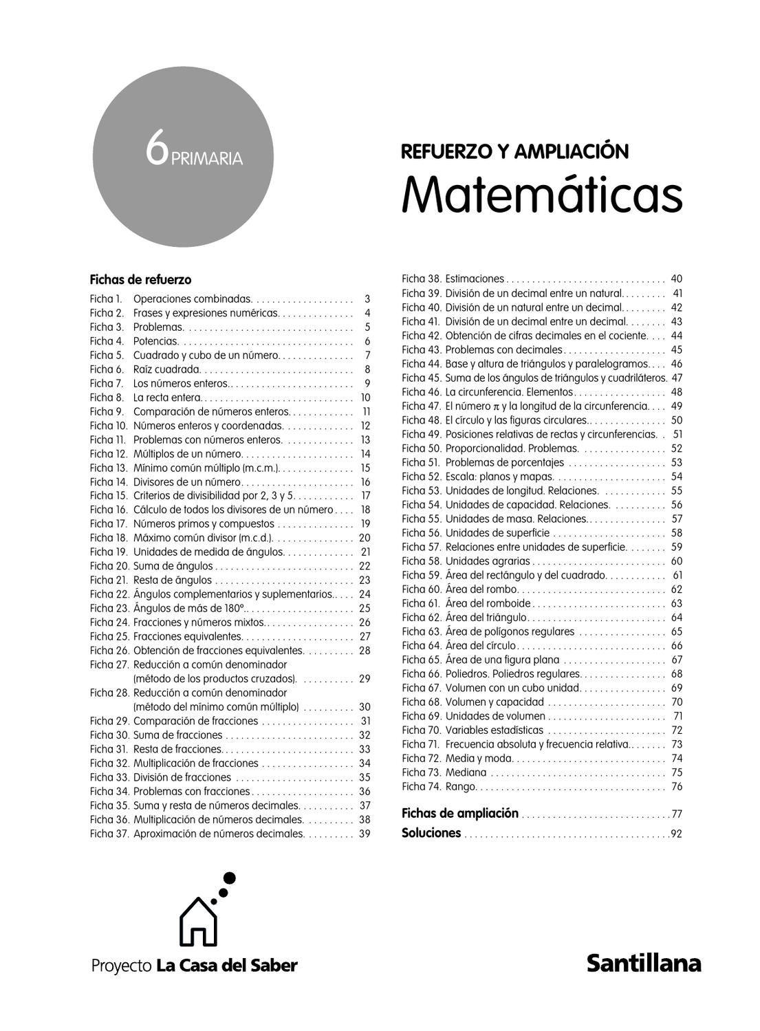 Refuerzo Y Ampliación Matemáticas Sexto Matematicas 6 Primaria Ejercicios Matematicas Primaria Primaria Matematicas
