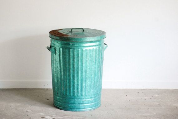 Vintage Trash Bin Galvanized Trash Can Metal Tub By Littlecows