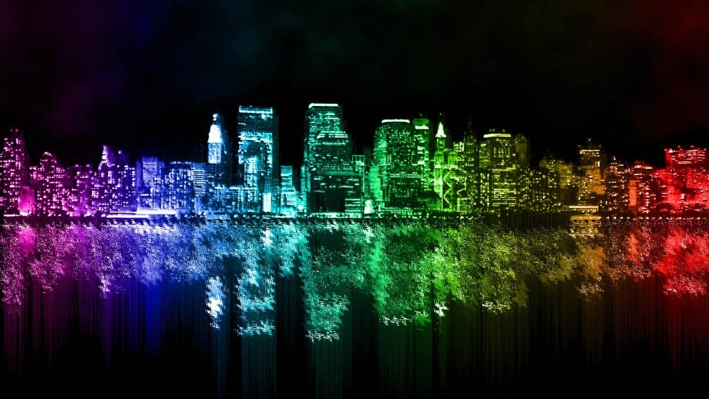 Rainbow City Wallpaper YouTube Adorable Wallpapers Pinterest - City lights wallpaper for bedroom