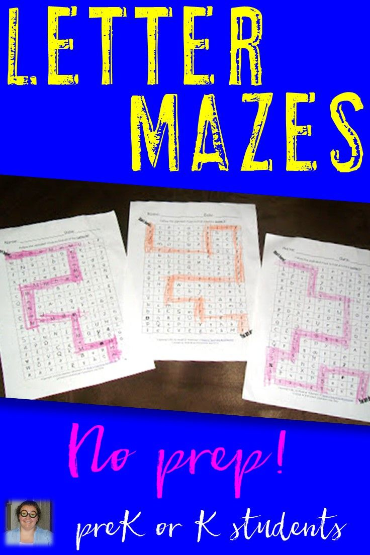 Letter Mazes Literacy Center  Letter Recognition  Alphabet