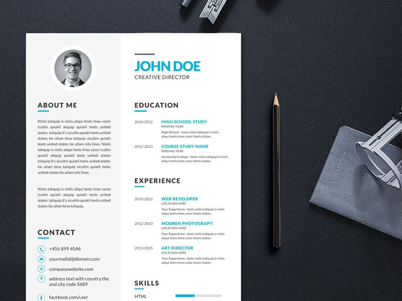 Free Vector Illustrator Resume Template For Your