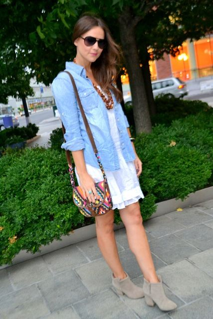 chambray shirt as jacket | style: chambray | Pinterest | Chambray