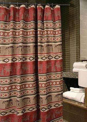 Create a stunning designer bathroom in your cabin or lodge with this  colorful, rustic Deer and Bear Adirondack Shower Curtain by Carstens