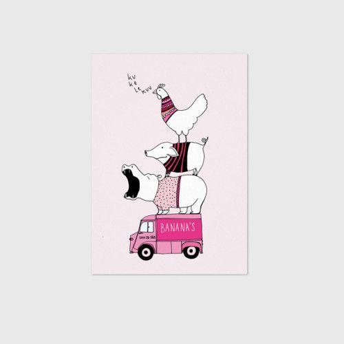 Studio Rainbow Prints / Kinderposter dieren truck roze (A5) / Kidsroom