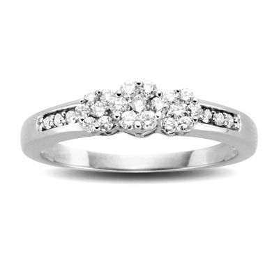 1 5 Ct T W Diamond Triple Flower Ring In 10k White Gold Engagement Ring Prices White Gold Engagement Rings Engagement Rings