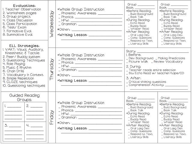 Sample Language Arts Lesson Planning Template For Kindergarten