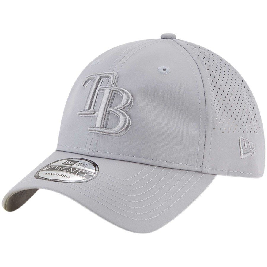 87542bc6a9b Men s Tampa Bay Rays New Era Gray Perforated Tone 9TWENTY Adjustable ...