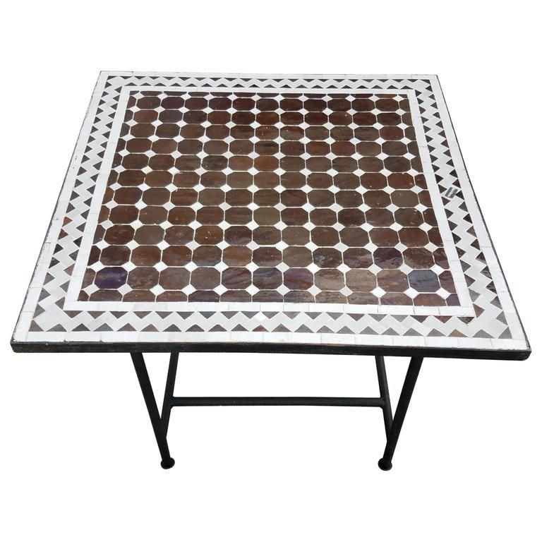 Moroccan Brown Beige Mosaic Tile Table Mosaic Tile Table
