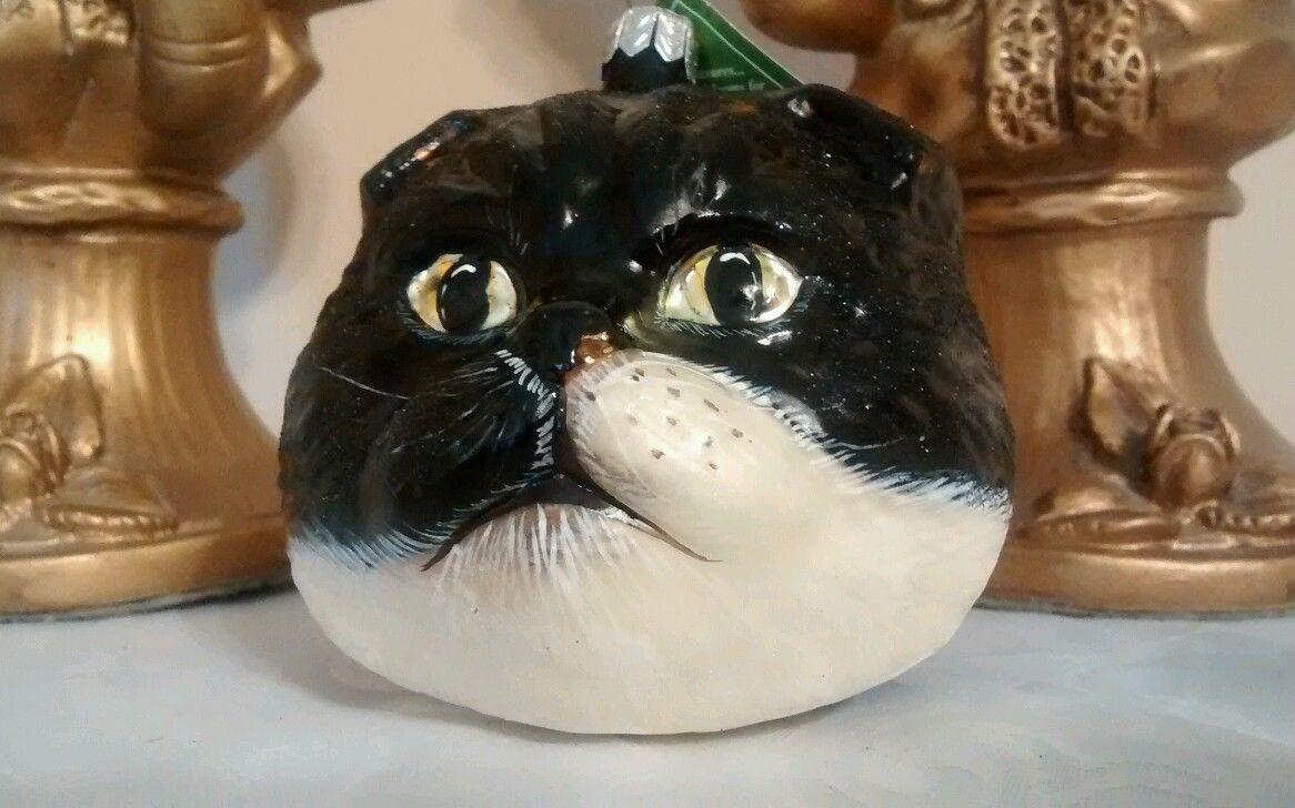 SLAVIC TREASURES RETIRED BLACK CAT HEAD BLOWN GLASS