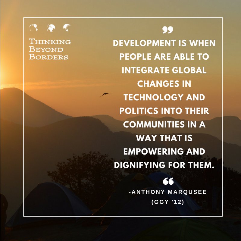 What is development? Thinking Beyond Borders alumni quote