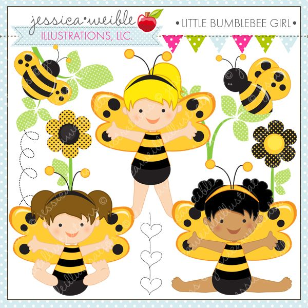 Little Bumble Bee Girls - adorable clipart for your craft and creative projects.