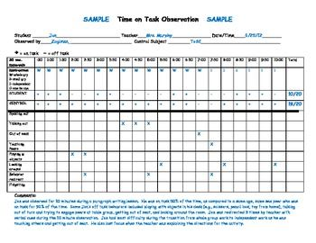 Special Education: Time-On-Task Observation Chart | Autism