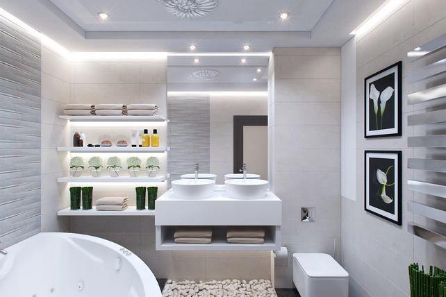 Kis fürdőszoba berendezés és dekoráció ötletek - 4 variáció látványtervekkel