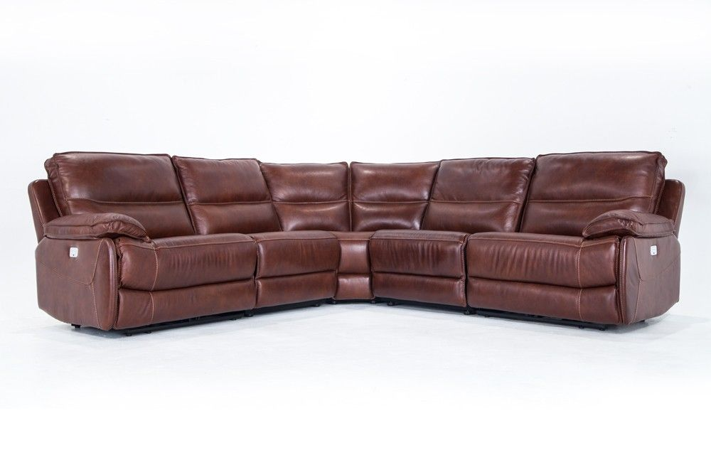 Amazing Zeus Leather Power Reclining 5 Piece Sectional Bobs Pabps2019 Chair Design Images Pabps2019Com