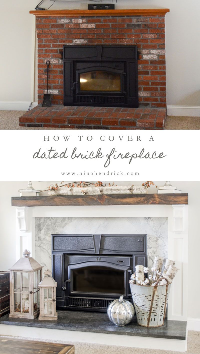 How to cover your brick fireplace fireplace farmhouse - Covering brick fireplace with tile ...