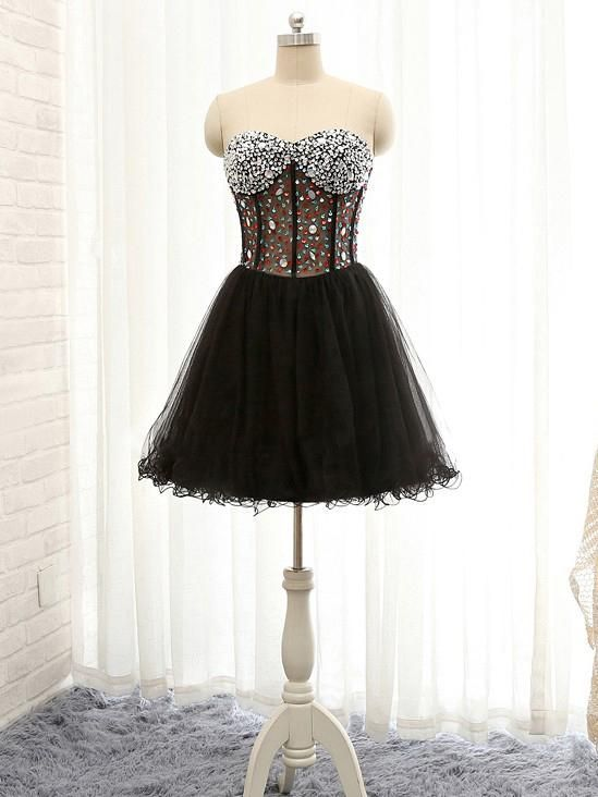 A-line Sweetheart Homecoming Dress Black Tulle Short Prom Dress ...