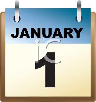royalty free clipart image of a january 1 calendar page