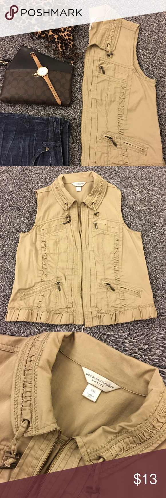 Tan utility vest hardly worn! I hardly wore this so its
