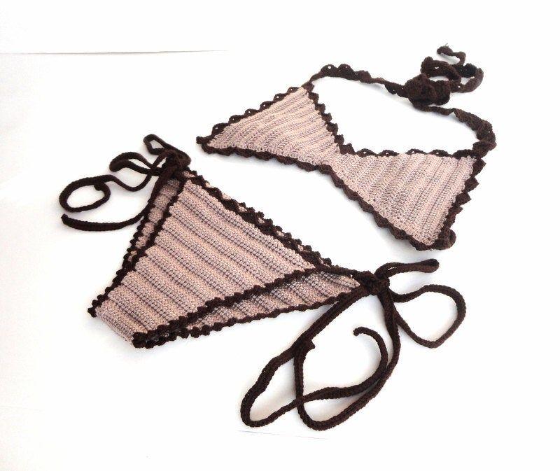 Women Swimwear Crochet Bikini Top Bikini Bottom Swimsuit Bathingsuit Summer Beachwear // senoaccessory