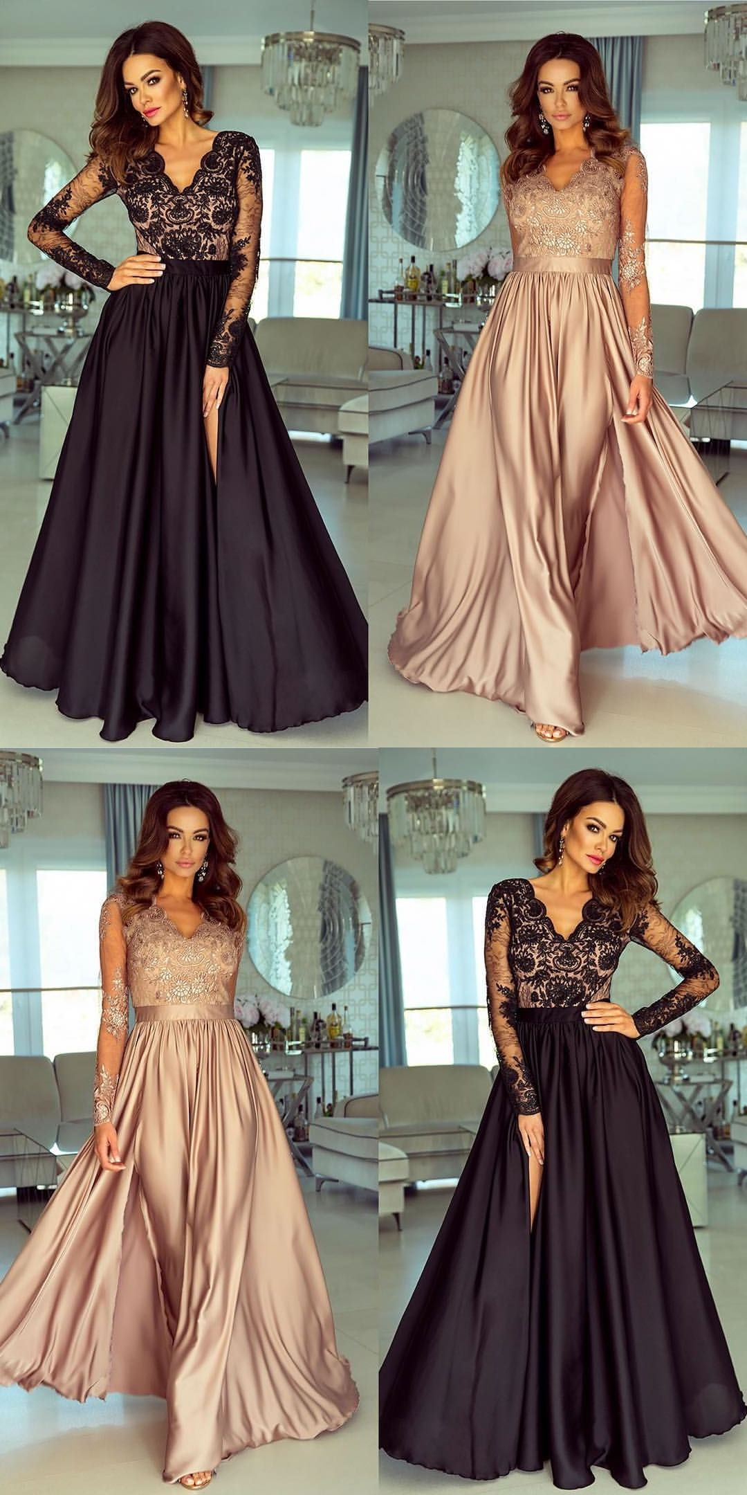 Simple Blush Satin Long Prom Dresses For Teenss Cheap Long Sleeves Evening Party Dresses Dressyw Split Prom Dresses Blush Prom Dress Prom Dresses With Sleeves