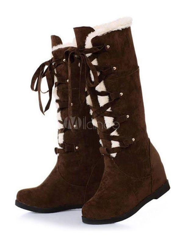Up Plush Wedge Heel Lolita Sweet Lace Winter Boots Lining c5ALR4jq3