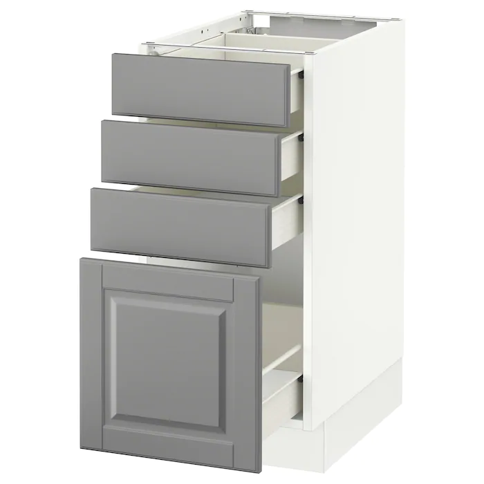 Sektion Base Cabinet With 4 Drawers White Forvara Bodbyn Gray 15x24x30 Ikea In 2020 Base Cabinets Bodbyn Grey Bodbyn