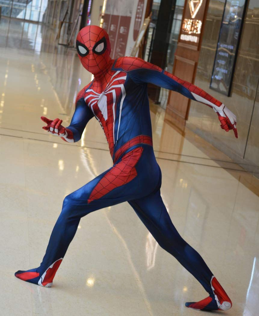 PS4 Black Insomniac Spiderman Costume Fullbody Cosplay Spider-Man Zentai Suit