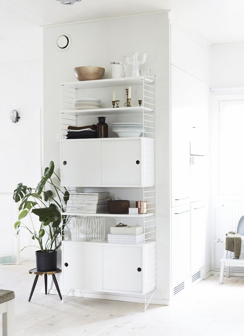 White wire shelving unit with integral cupboards | Lounge Mood Board ...