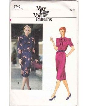 80s Vogue 7740 Women's Bow-tie Dress Sewing Pattern Miss 10 Uncut