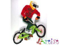 BMX-Fahrer Häkel Applikation