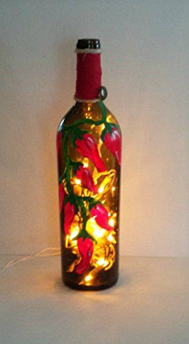 Hand painted red chili pepper lighted wine bottle table lamp amazon hand painted red chili pepper lighted wine bottle table lamp handmade aloadofball Choice Image