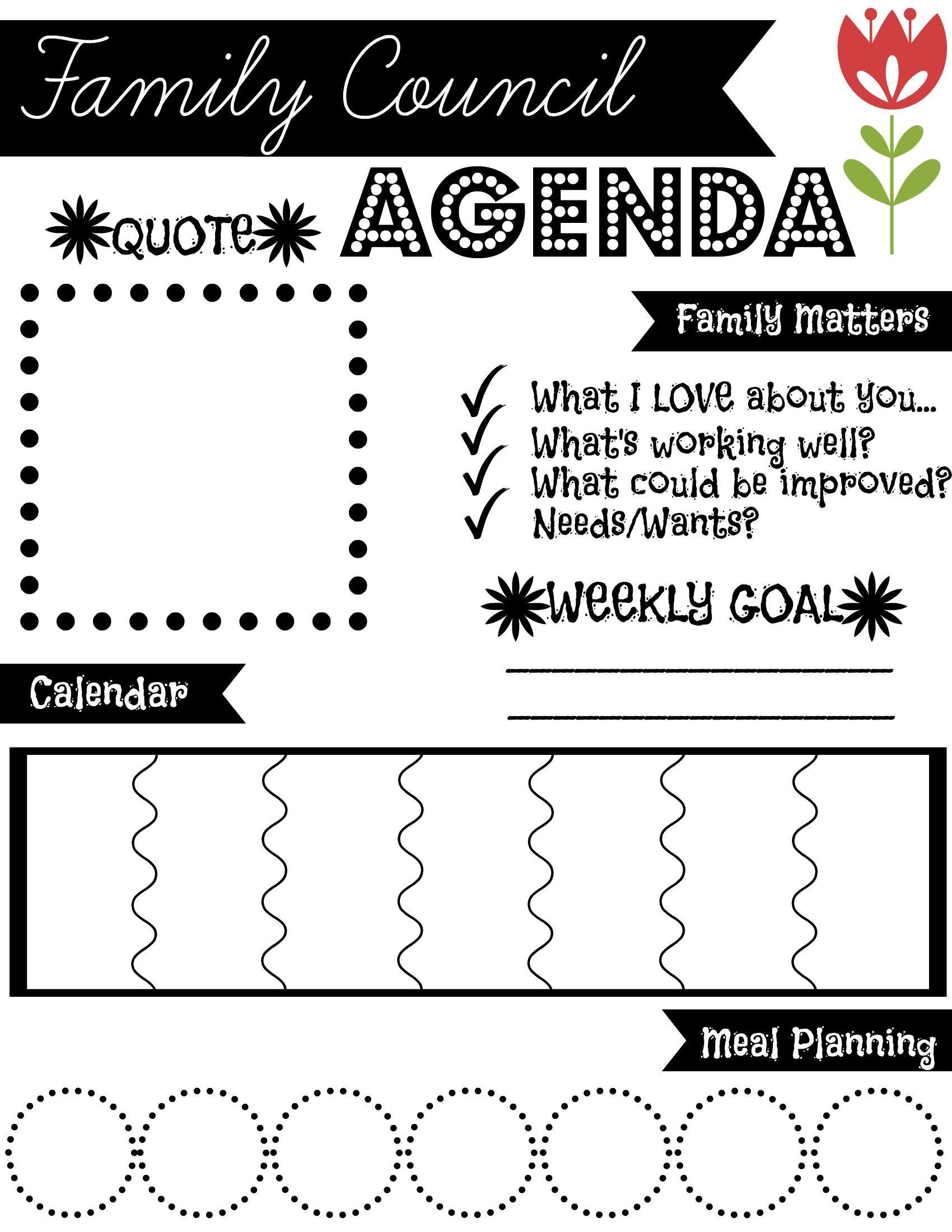 Family Council Agenda Find More Free Printables At