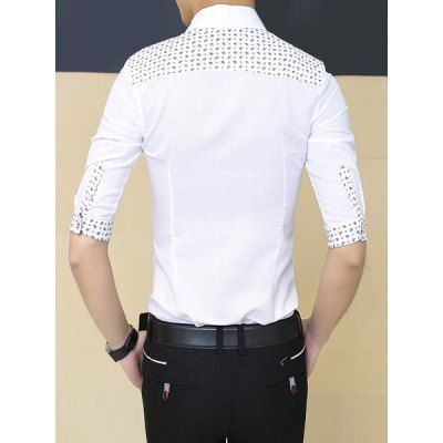 $21.19 (Buy here: http://appdeal.ru/ai9u ) Trendy Turn-down Collar Geometric Pattern Slimming Half Sleeves Men's Cotton Blend Shirt for just $21.19