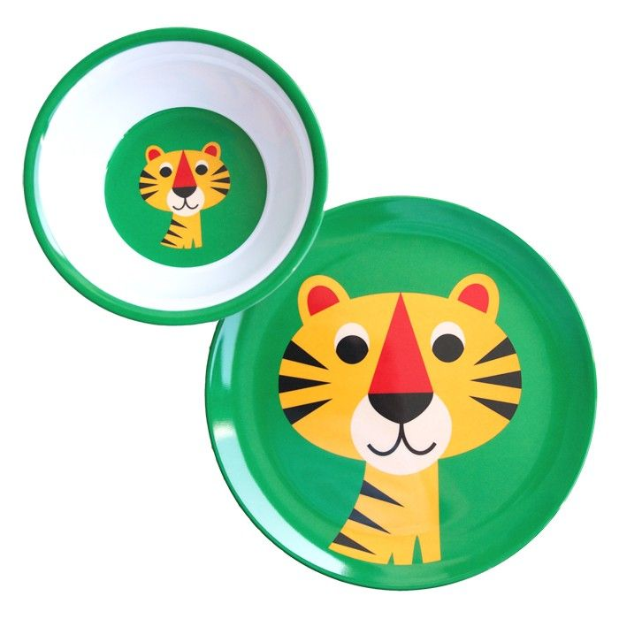 Tiger bowl and plate by Omm  Design