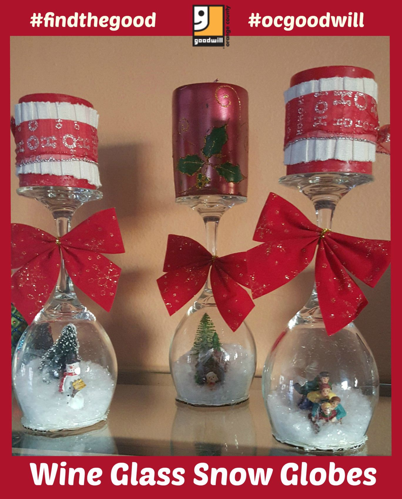Diy Snow Globes Inside Wine Glasses How Clever Snow Globes Wine Glass Snow Globe Holiday Snow Globe