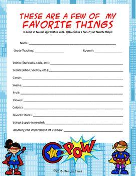 teacher appreciation favorite things superhero theme form