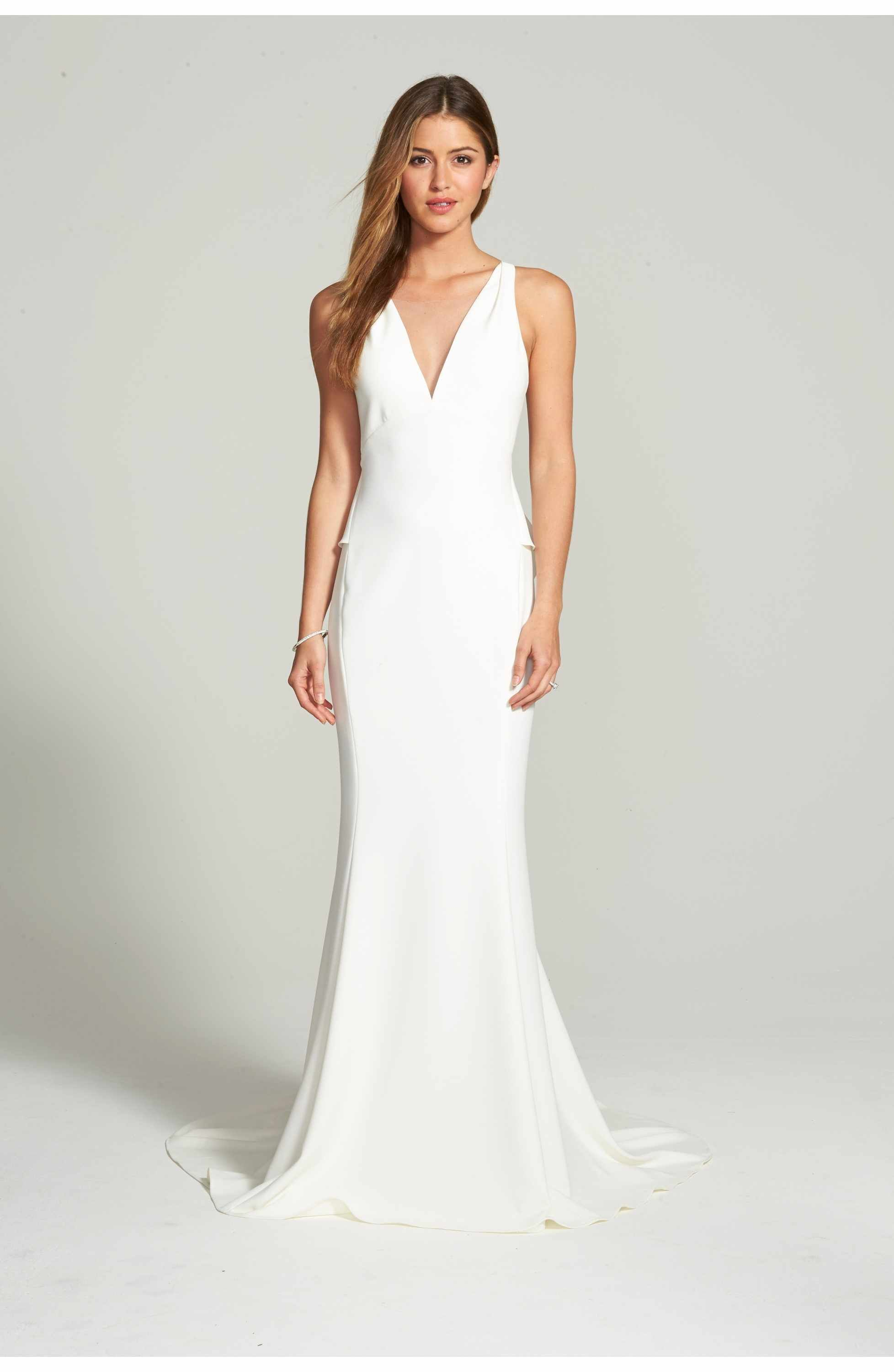 Main Image - Amsale Back Detail Flared Silk Crepe Gown | Wedding ...
