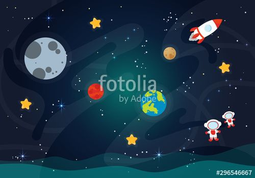 Vector Illustration Of Space Space flat vector background with rocket spaceship moon Jupiter satellite astronaut planets and stars